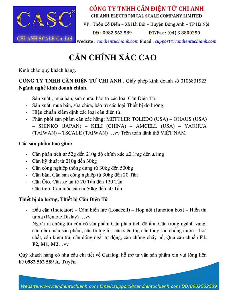 Giới thiệu cân điện tử Chi Anh